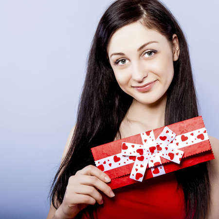 young girl with gift photo
