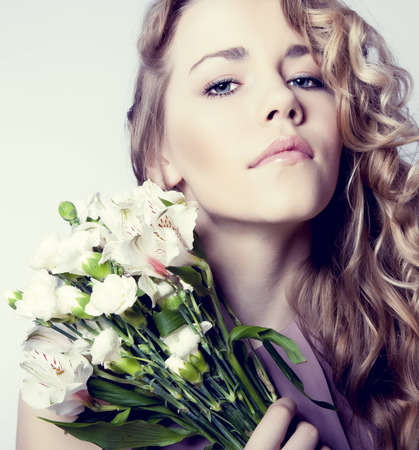 Portrait of romantic girl in flowers Stock Photo - 12536363