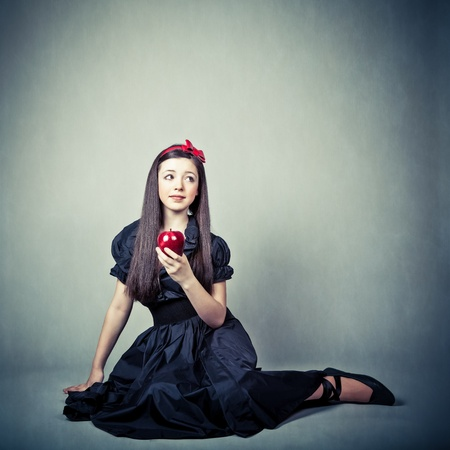 fantasy portrait of beautiful young girl, in snow white costume photo