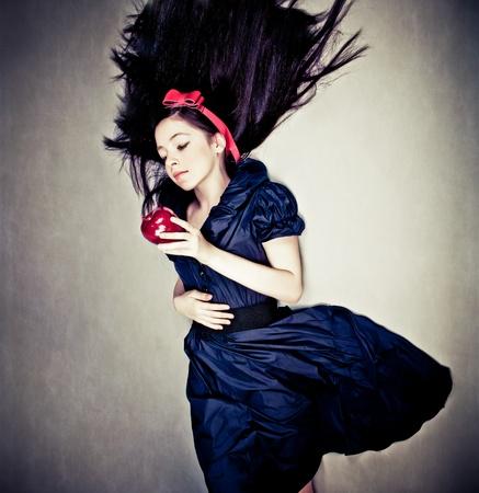 fantasy portrait of girl, in snow white costume Foto de archivo