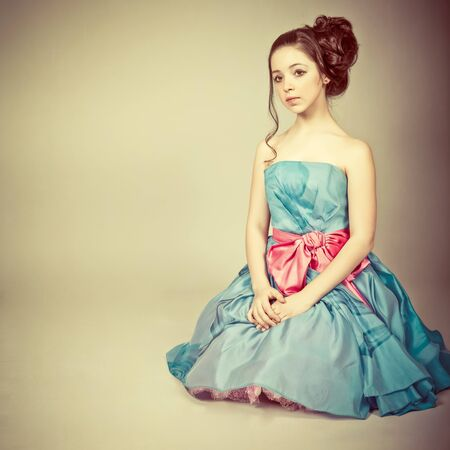 Portrait of a cute young  girl dressed as a princess Stock Photo