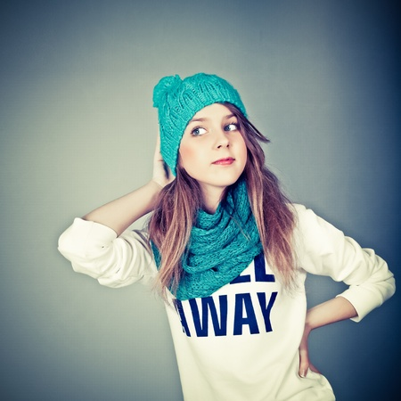 pretty teen girl: beautiful teenager in winter clothes