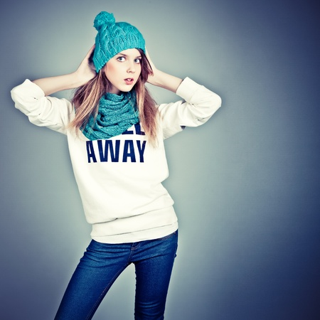 beautiful teenager in winter clothes