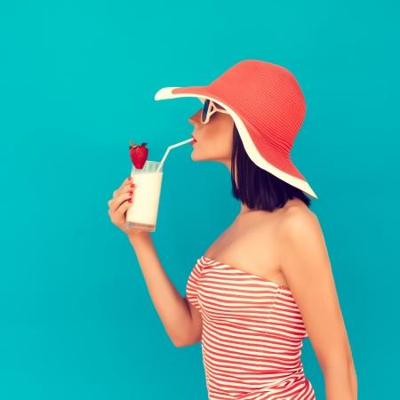 sensual girl with a summer cocktail Banco de Imagens