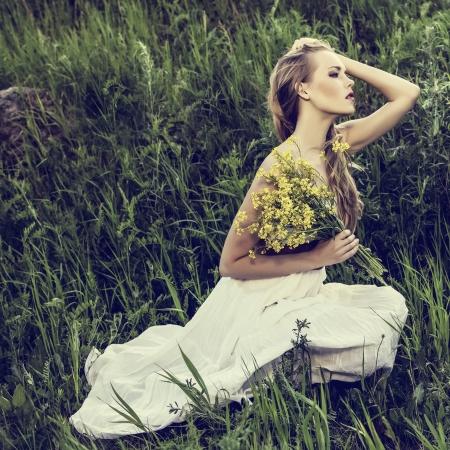 Portrait of romantic woman in forest Banco de Imagens