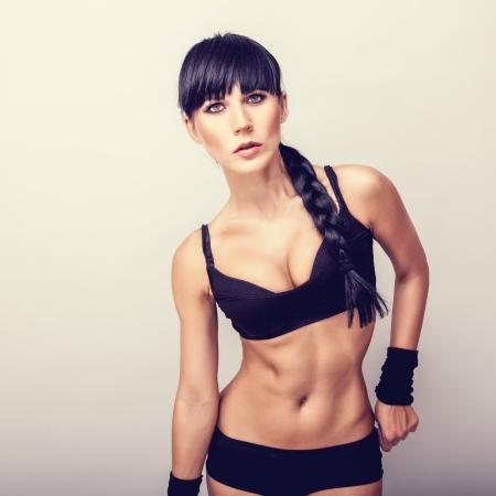 black bra: Beautiful healthy fitness woman