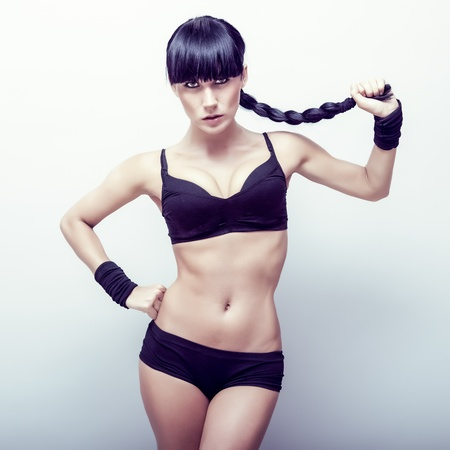 stretchy: portrait of a beautiful sports girl