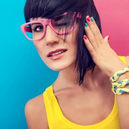 pink nails: Summer funny girl