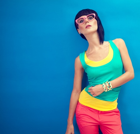 pink nails: Funky summer portrait of a beautiful girl Stock Photo