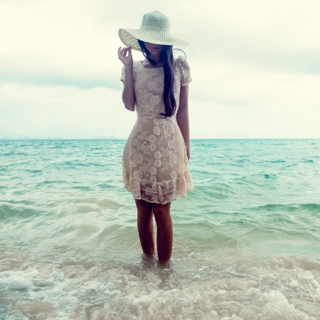 fashion girl: fashion portrait of a girl on the sea Stock Photo