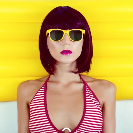 summer beach portrait of a sensual girl Stock Photo