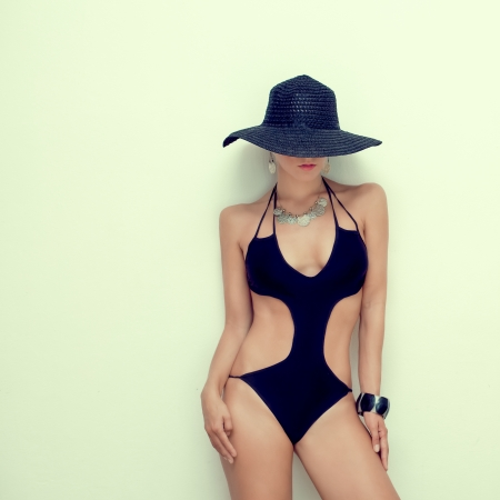 swimsuit model: fashion portrait of a sensual girl in a bathing suit Stock Photo