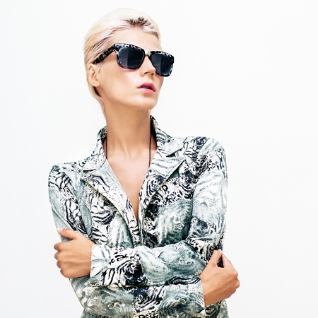 fashion portrait of a girl in stylish clothes