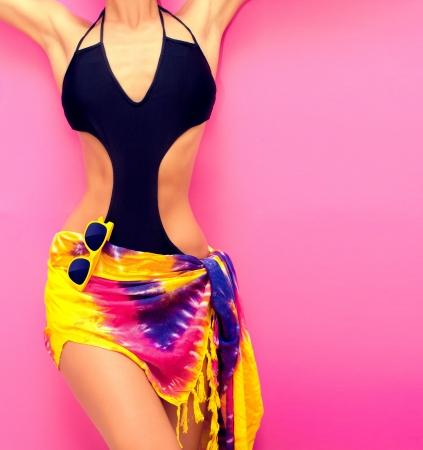 abdomens: torso of a girl in a swimsuit fashion