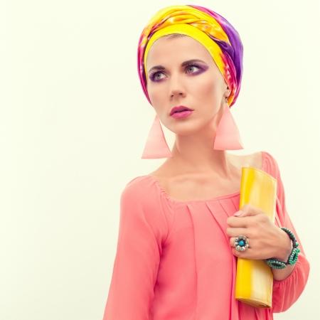 Colorful portrait of a bright summer girl  Foto de archivo