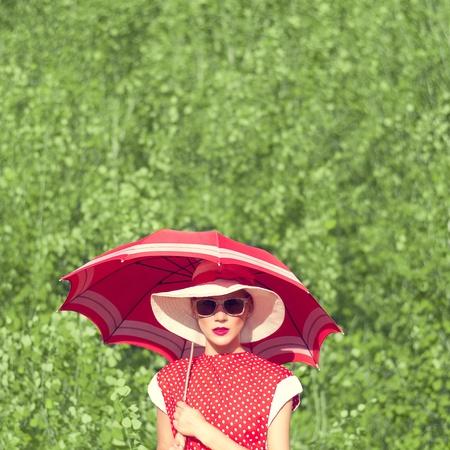 sun umbrella: Girl in retro style Outdoors