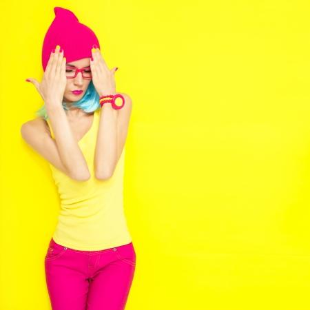 pink nails: Portrait of bright stylish girls