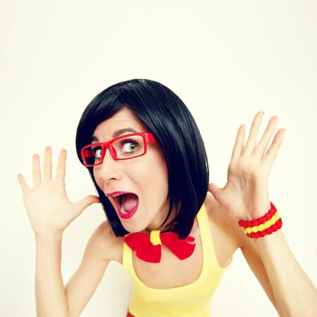 angry teacher: funny portrait of attractive surprised girl Stock Photo