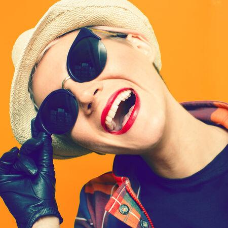 Glamorous girl hipster style photo