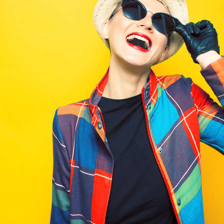 adult 80s: Glamorous girl hipster style Stock Photo