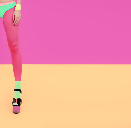 pink lips: Fashion girl portrait  Bright funky style Stock Photo