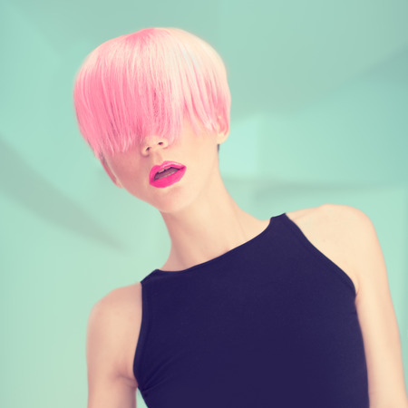 Girl with pink hair  Fashionable Trend