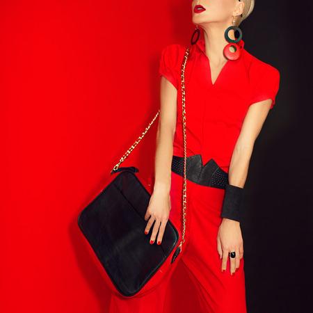 Fashion lady black red style
