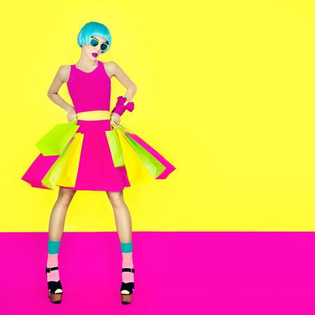 Crazy fashion shopping girl Banco de Imagens