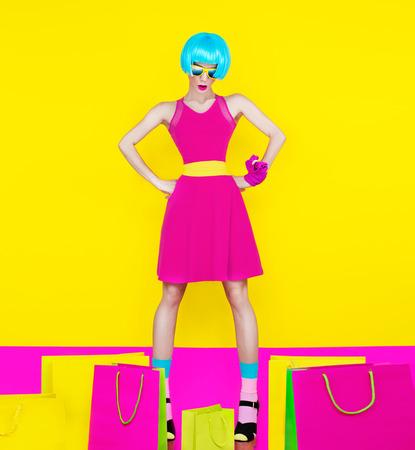 Crazy fashion shopping girl Foto de archivo