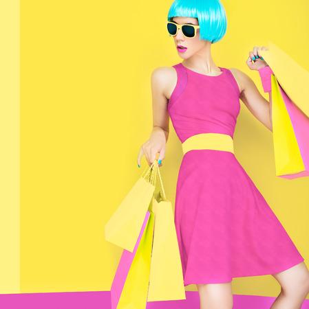 Glamorous shopping lady Foto de archivo