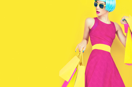 fashion doll: Glamorous shopping lady Stock Photo