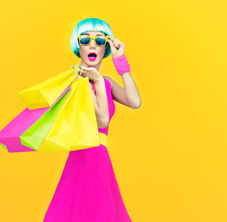Glamorous shopping lady Stok Fotoğraf