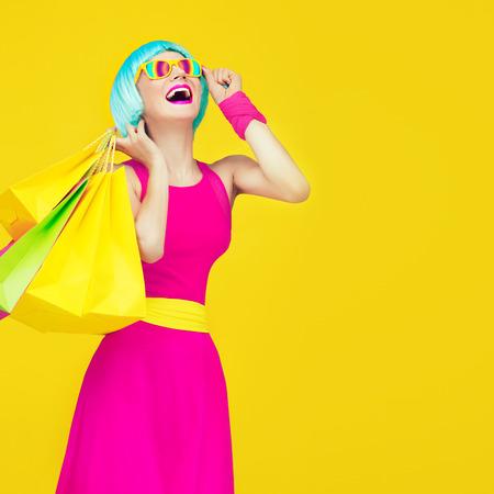 Glamorous shopping lady 版權商用圖片