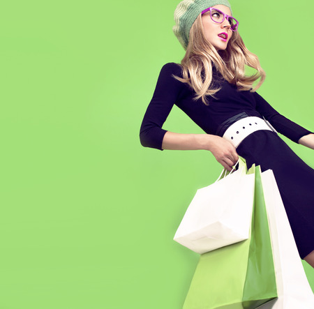 shopping girl:  bio shopping girl Stock Photo