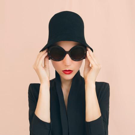 chaplin: Portrait of elegant lady in a stylish hat Stock Photo