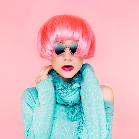 Glamorous fashion lady in pink wig