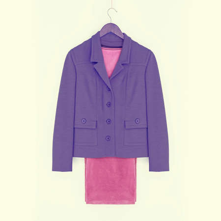 Suit, purple jacket and pink pants, vintage look photo