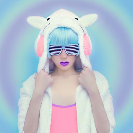 winter dance: Teddy Bear Girl DJ. Crazy winter party. Club dance style Stock Photo
