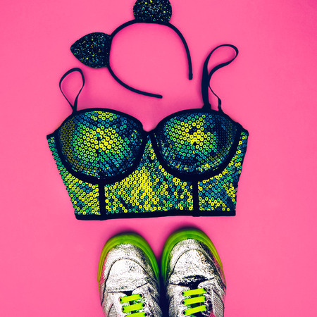sports bra: Stylish accessories glamorous lady. Set to the party. fashion sneakers, bra and ears Mickey Mouse