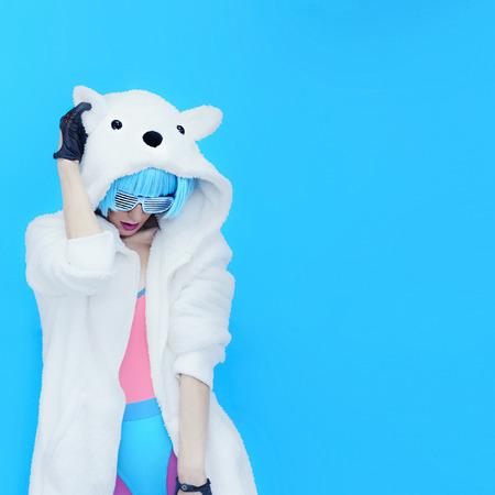 Teddy Bear Girl DJ. Crazy winter party. Club dance style Archivio Fotografico