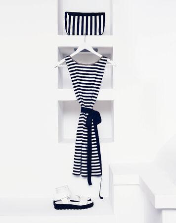 female clothing: Marine style fashion. Women style Stock Photo