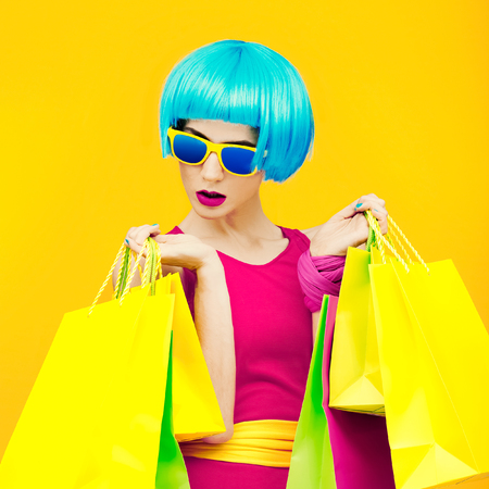 crimson: Glamorous lady shopping.time discounts and sales