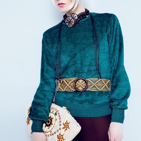 Boho style glamorous lady. Spring fashion accessories. Ethno Belt, Bag photo