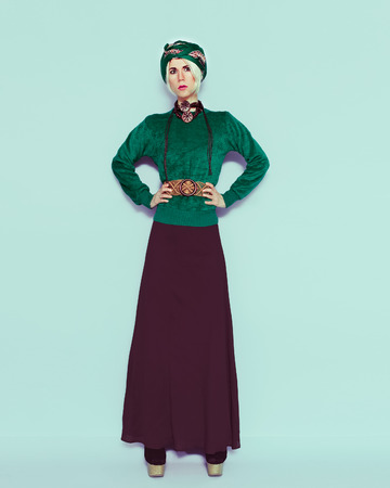 Boho style glamorous blonde. Trend accessories. Ethno fashion clothes photo