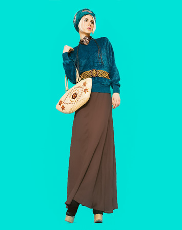 Boho style glamorous lady. Spring fashion accessories. Ethno fashion clothes photo
