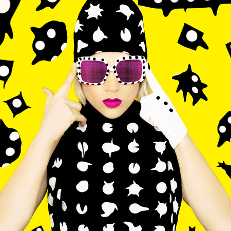 Polka Dots Monster Girl. Glamorous Disco style.