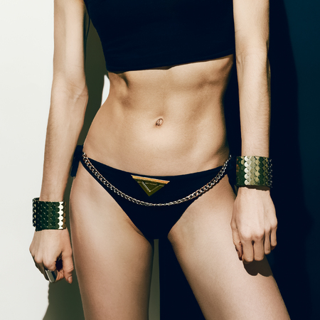 chic panties: Sexy Sports girl in fashionable clothes. Metal,, Glamour, Luxury
