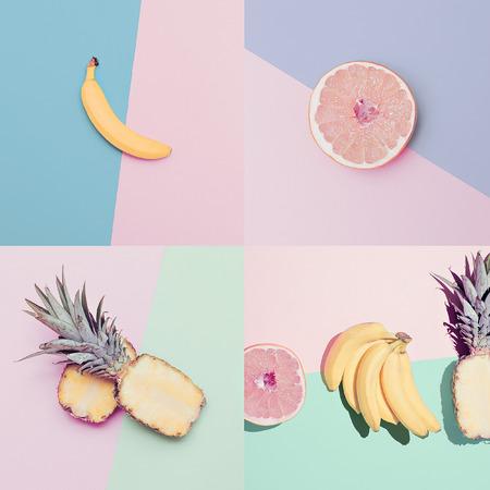owoców: Moda Vanilla zestaw owoców. minimalistycznym stylu Zdjęcie Seryjne