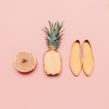 exclusive photo: Fashion ladies summer style set. Vanilla fruits and shoes Stock Photo