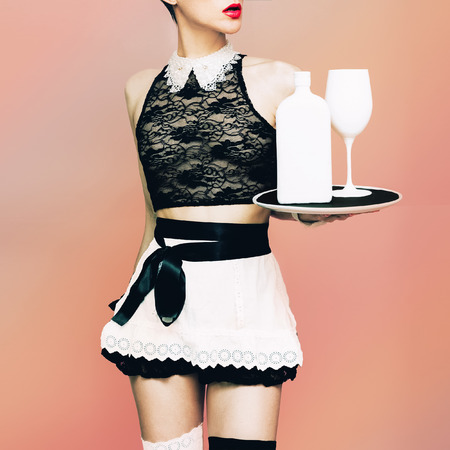 party tray: Woman model waitress in Glamorous party style